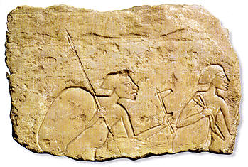 2 soldiers with spear and battle axe carving